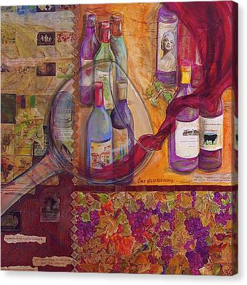 One Glass Too Many - Cabernet Canvas Print by Debi Starr