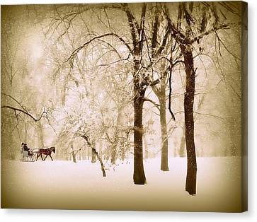 One Horse Open Sleigh Canvas Print