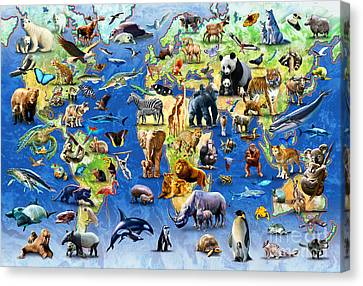 One Hundred Endangered Species Canvas Print by Adrian Chesterman