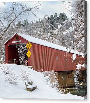 Litchfield County Canvas Print - One Lane Bridge Square by Bill Wakeley