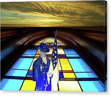 One Last Battle Union Soldier Stained Glass Window Digital Art Canvas Print by Thomas Woolworth