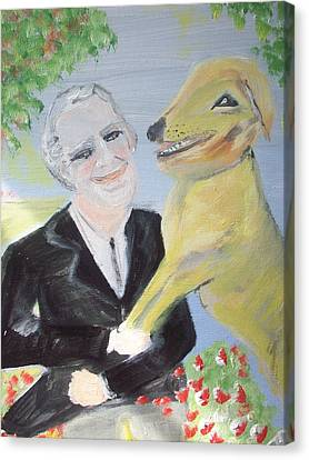 One Man And His Dog Canvas Print by Judith Desrosiers