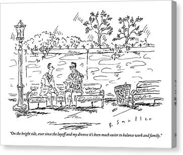 One Man To Another On A Park Bench Canvas Print by Barbara Smaller