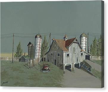 Old Barns Canvas Print - One Man's Castle by John Wyckoff