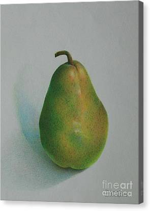 One Of A Pear Canvas Print by Pamela Clements