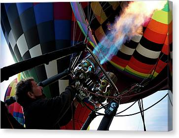 One Of Many Balloons Being Prepared Canvas Print
