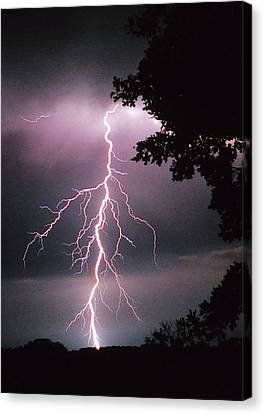 One Of Many Lightning Strikes Canvas Print by Shannon Story