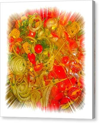 One Pan Pasta Cooking Canvas Print by Constantine Gregory