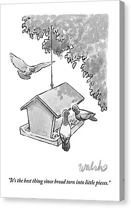 One Pigeon Speaks To Another At A House-shaped Canvas Print