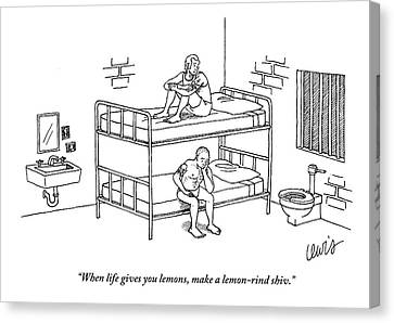 One Prisoner Sitting On The Top Of A Bunk Bed Canvas Print by Eric Lewis