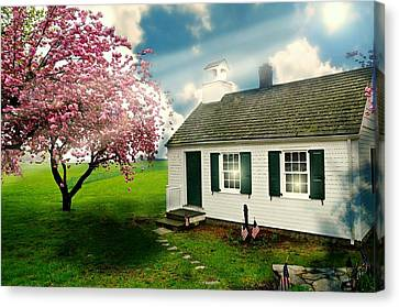 Old School Houses Canvas Print - The Little Old Schoolhouse by Diana Angstadt