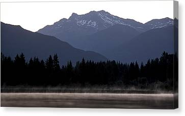 Ducklings Canvas Print - One Small Duck One Big Mountain by Aaron Bedell
