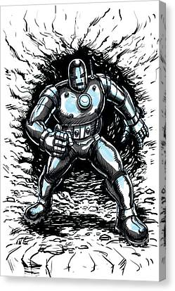 One Small Step For Iron Man Canvas Print by John Ashton Golden