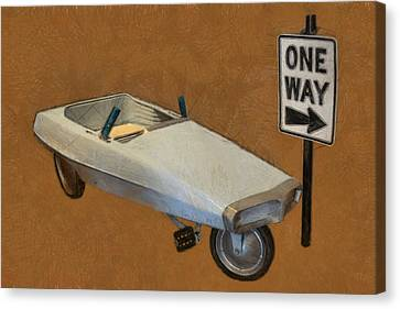 One Way Pedal Car Canvas Print by Michelle Calkins