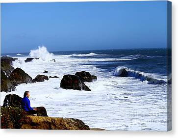 Canvas Print featuring the photograph One With The Ocean by Theresa Ramos-DuVon