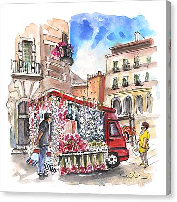 Onion And Garlic Street Seller In Siracusa Canvas Print by Miki De Goodaboom
