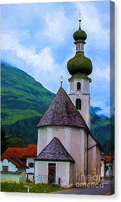 Onion Domed Church - Austria Mountain Village Canvas Print
