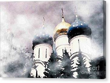 Onion Domes In The Mist Canvas Print by Sarah Loft