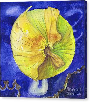 Canvas Print featuring the painting Onion On Blue Tile by Susan Herbst
