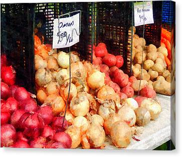 Onions And Potatoes Canvas Print by Susan Savad