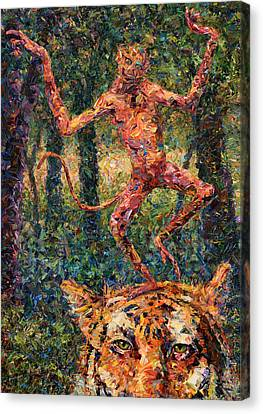 Only A Crazy Monkey Dances On A Tiger's Head Canvas Print