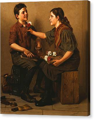 Only A Nickel Joe Canvas Print by John George Brown