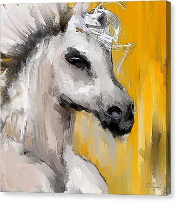 Only In His Eyes- Yellow And Gray Abstract Art Canvas Print by Lourry Legarde