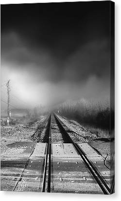 Canvas Print featuring the photograph Onward - Railroad Tracks - Fog by Jason Politte