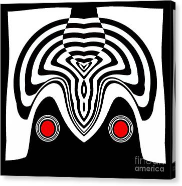 Op Art Black White Red Minimalist Art No.233. Canvas Print by Drinka Mercep
