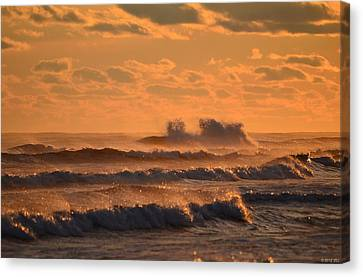 Canvas Print featuring the photograph Opal Beach Sunset Colors With Huge Waves by Jeff at JSJ Photography