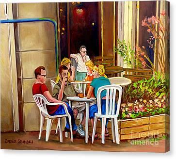 Open Air Cafe Parisian Style Bistro-rue St Denis Montreal Cafe Paintings Carole Spandau Canvas Print