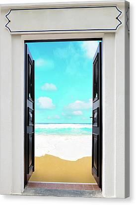 Open Door And Seascape Canvas Print by Wladimir Bulgar