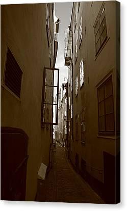 Open Window In Gamla Stan In Stockholm Canvas Print by Ulrich Kunst And Bettina Scheidulin