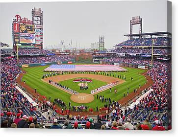 Citizens Bank Park Canvas Print - Opening Day Ceremonies Featuring by Panoramic Images