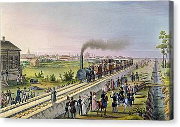 Opening Of The First Railway Line From Tsarskoe Selo To Pavlovsk In 1837 Canvas Print by Russian School