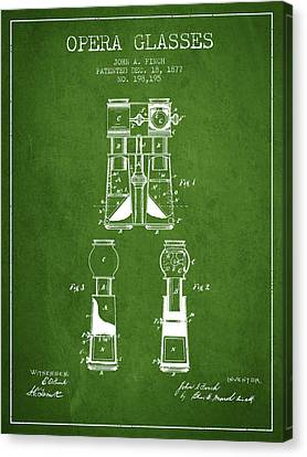 Opera Glasses Patent From 1877 - Green Canvas Print