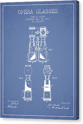 Opera Glasses Patent From 1877 - Light Blue Canvas Print
