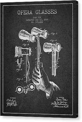 Opera Glasses Patent From 1888 - Dark Canvas Print
