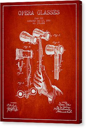 Opera Glasses Patent From 1888 - Red Canvas Print