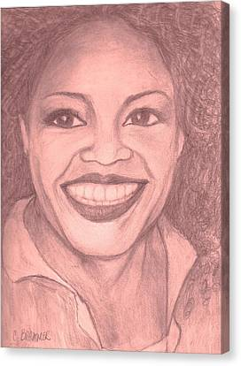 Canvas Print featuring the drawing Oprah by Christy Saunders Church