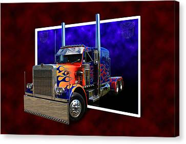 Canvas Print featuring the photograph Optimus Prime Peterbilt by Keith Hawley