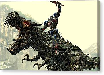Optimus Prime Riding Grimlock Canvas Print by Movie Poster Prints