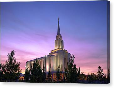 Oquirrh Mountain Temple Iv Canvas Print by Chad Dutson