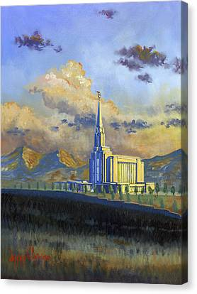 Oquirrh Mountain Temple Canvas Print by Jeff Brimley