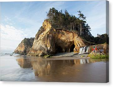 Or, Oregon Coast, Hug Point State Park Canvas Print by Jamie and Judy Wild
