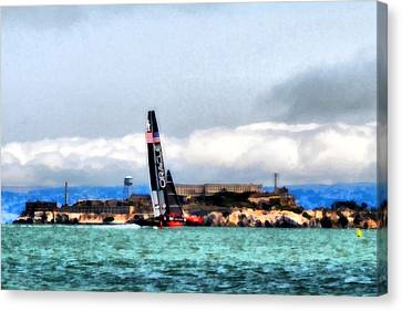Oracle Team Usa And Alcatraz Canvas Print by Michelle Calkins