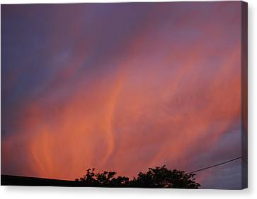 Canvas Print featuring the photograph Orange And Blue Sunset by Ramona Whiteaker