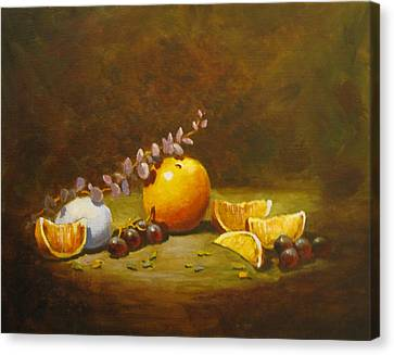 Canvas Print featuring the painting Orange And Egg by Carol Hart