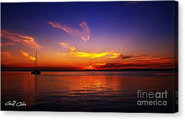 Orange And Gold Delight - Sunset Canvas Print by Geoff Childs