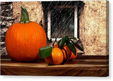 Orange And Rain Canvas Print by Cecil Fuselier